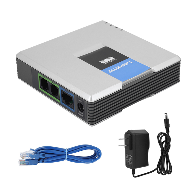 Voip gateway internet phone 2 ports adapter sip rj45 cable f