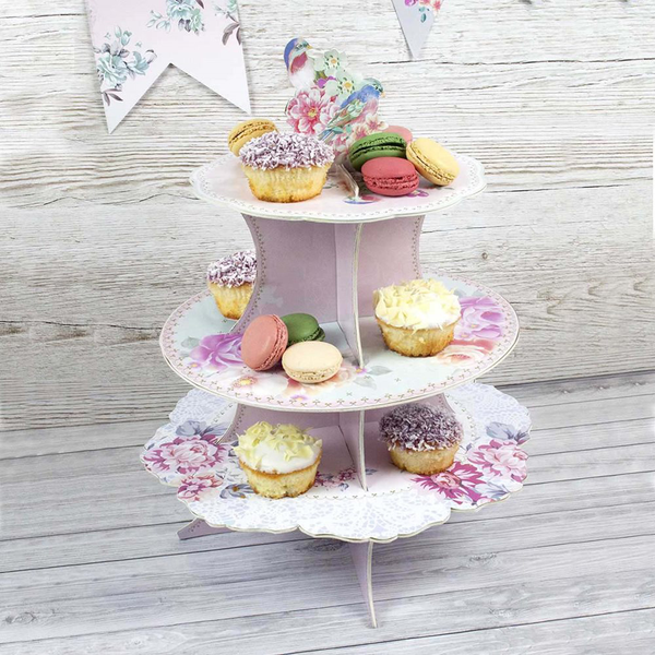 Floral Pastel Three Tier Cardboard Cake Stand Wedding Party Party Party C... b92ec5