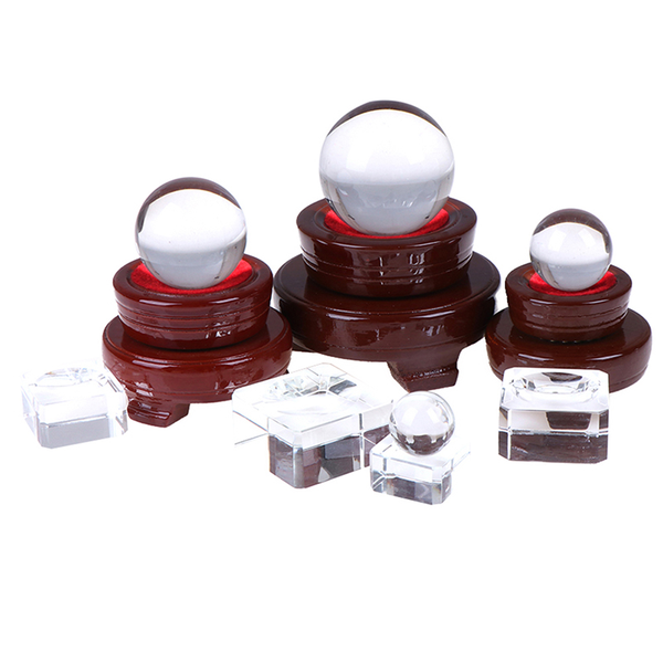 Crystal wood display stand base holder for crystal ball sphere s