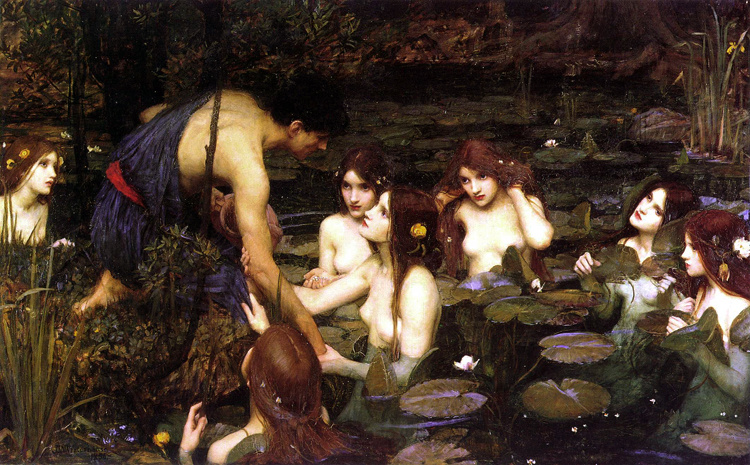 Hylas and the Nymphs,John William Waterhouse,60x40cm
