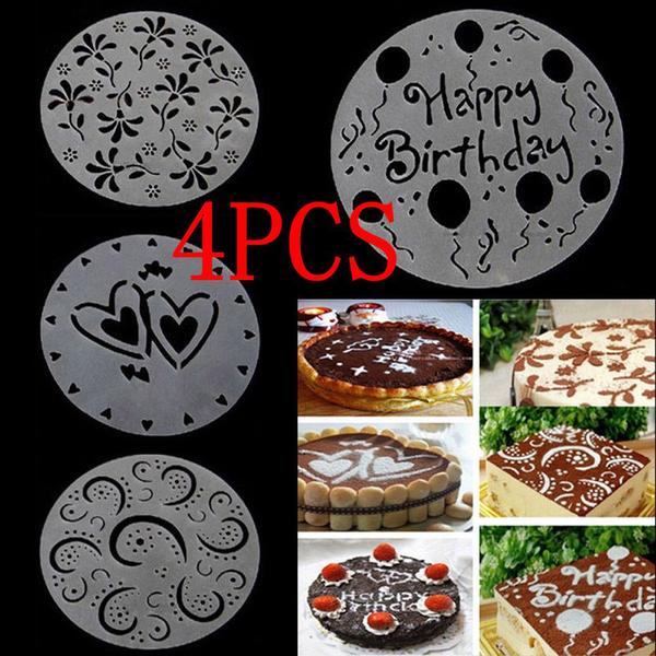 4pcs cake mold mould decorating stencils birthday party flower
