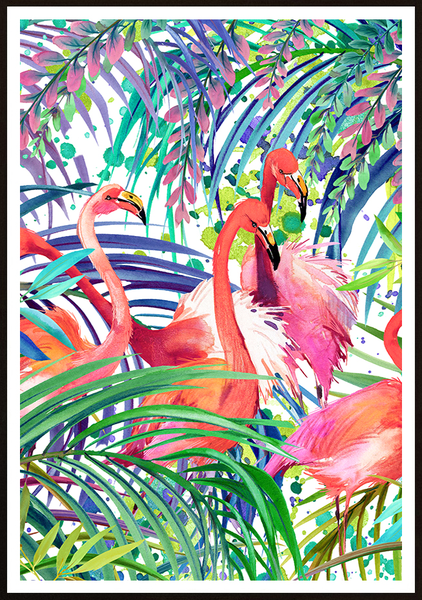 Poster - Flamingo Tropical forest No.2 30x40cm