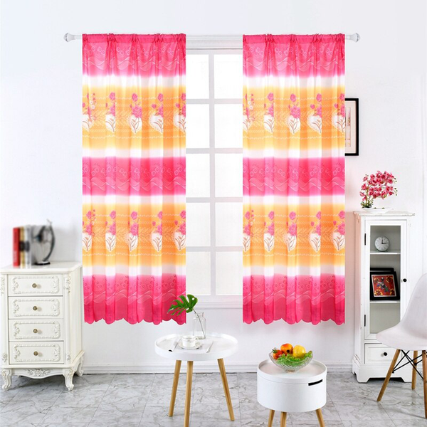 Blackout curtainstabby printed horizontal strips rose curtains