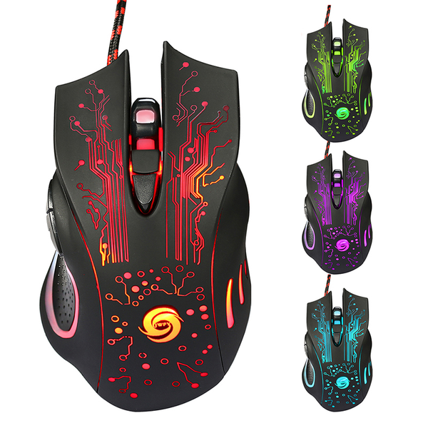 6buttons 5500 dpi led optical usb wired cord gaming pro mouse mi