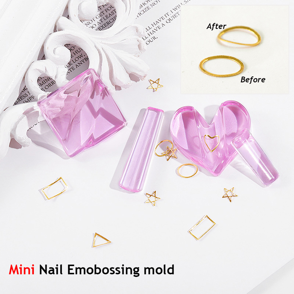Nail embossed mold mini template nail metals heart star design