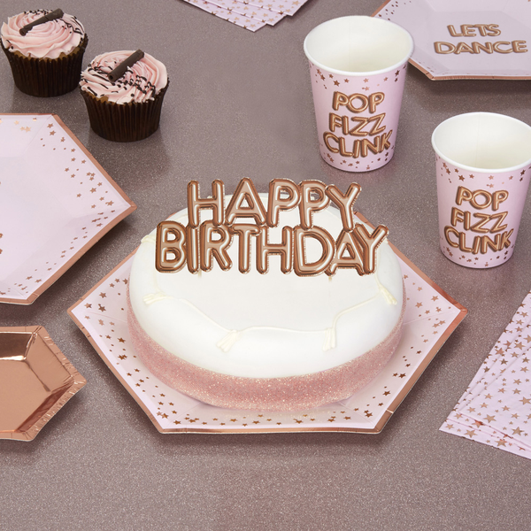 Glitz and Glamour Cake Topper - Happy Birthday - Rose Rose Rose Gold 3a0965