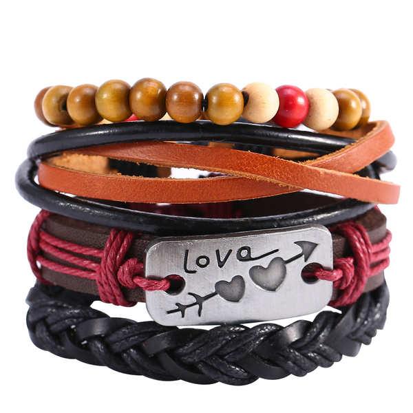 Classic braided leather multi layer bracelet wristband wrist