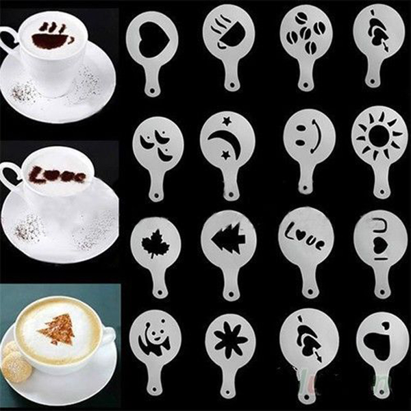 16 coffee machine barista stencils template strew flowers pad du