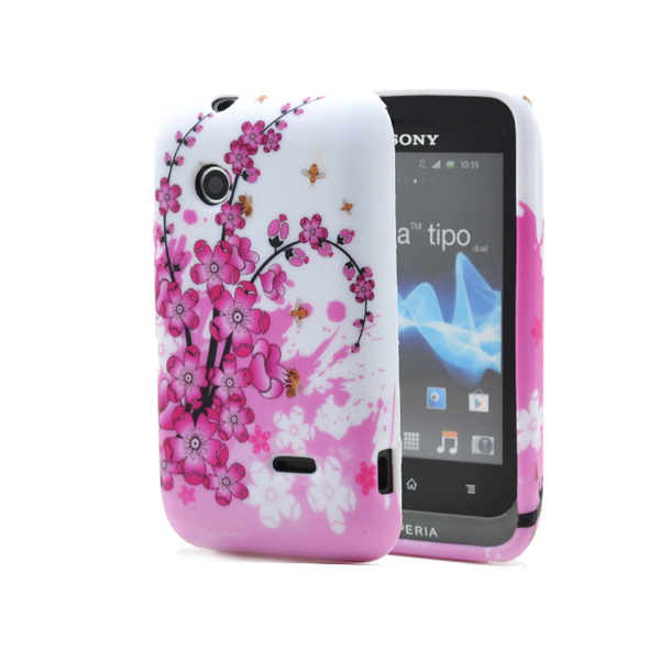 Flexicase skal till sony xperia tipo st21i – sommar rosa