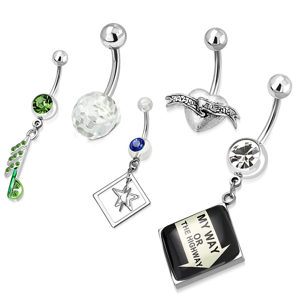 Set med 5 st Navelpiercing Navelpiercing Navelpiercing Acryl/CZ 316L 7283ae