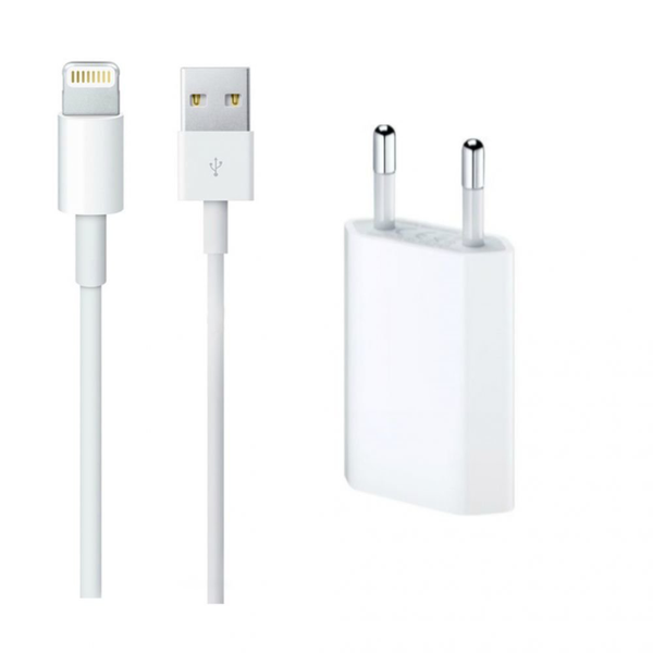 Laddare iPhone XS, 8, 7, 6, 5, + Lightning USB kabel 1.0 M