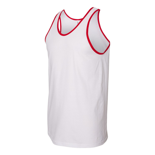 Unbranded American apparel mens fine jersey tank white/red utbc4006