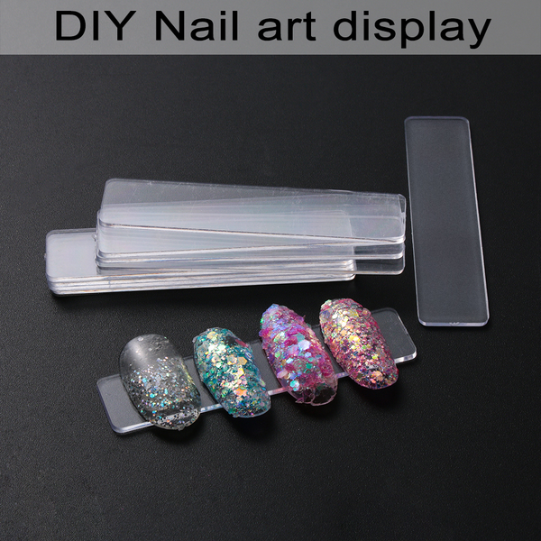 Transparent display stand acrylic strips showing shelf nail