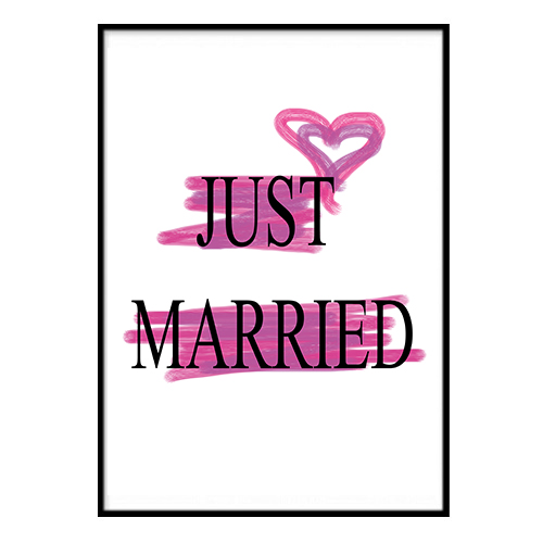 Poster - Just Married Rosa 40x50cm