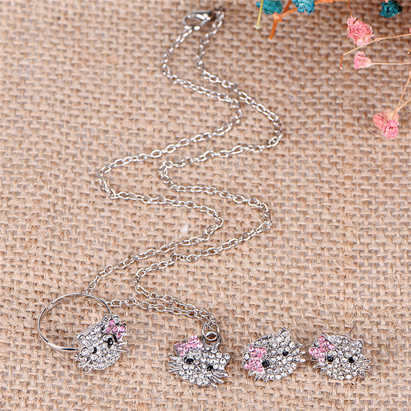Crystal cat stud necklace / earrings / ring bowknot for new fas