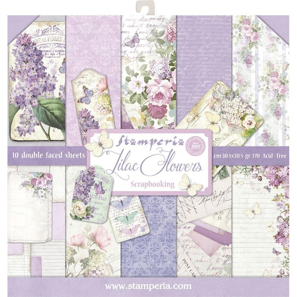 Paper pad 12″x12″ – stamperia – lilac flowers