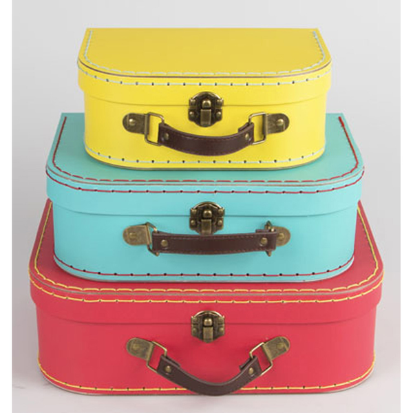 Bright Retro Mini Suitcases x 3 - Wedding / Home Decoration R...