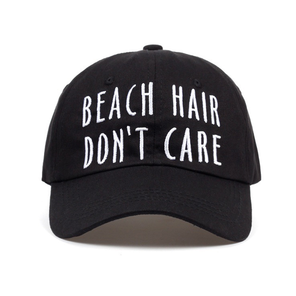 Svart Strapback Keps Dad Hat Pappakeps Beach Hair Dont Care