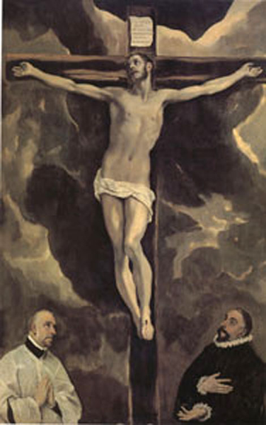 Christ on the Cross Adoröd by Two Donors,El Greco