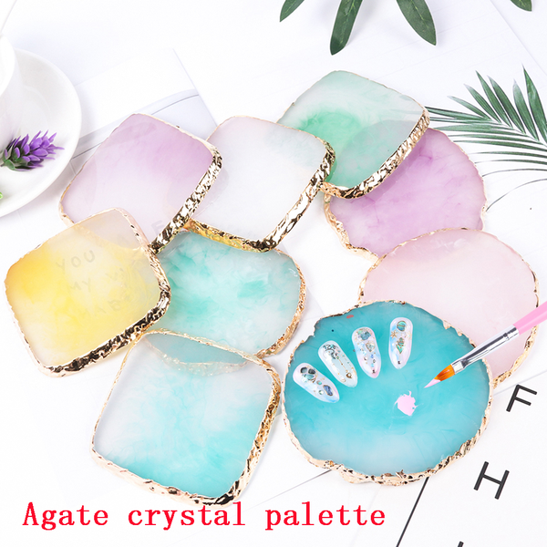 1pc nail art painting palette pigment holder resin stone agate