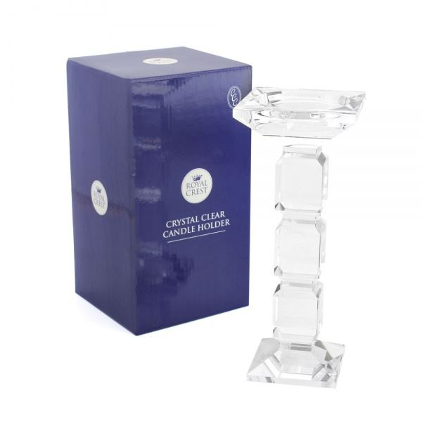 CRYSTAL CLEAR GLASS CANDLE HOLDER 25CM HOME HOME HOME DECORATION 3a6034