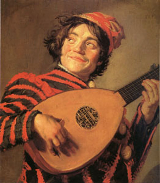 Jester with a Lute,Frans Hals,60x50cm