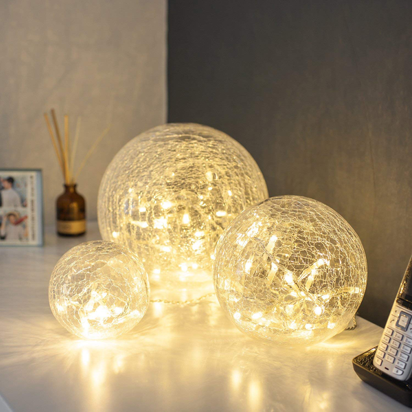 Set of 3 led glass balls with light chain warm white indoor