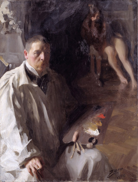 Self-Portrait with Model,Anders Zorn,50x40cm