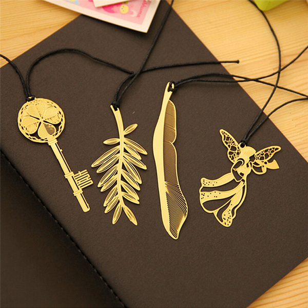 4pcs vintage key feather angel gold metal bookmark learning offi