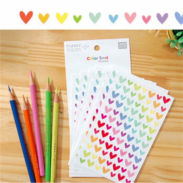 Colorful star love shape stickers for school children teacher re