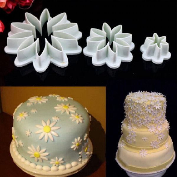 3 pcs/set cake cutter plunger cookie mould flower style mold