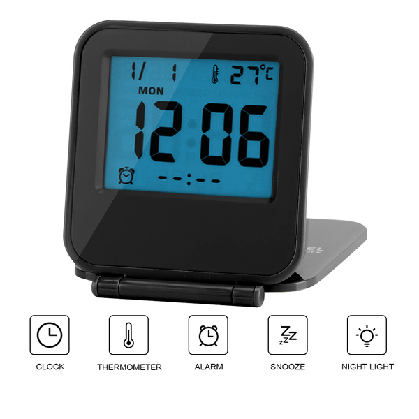 Portable foldable tabletop travel digital alarm clock with t