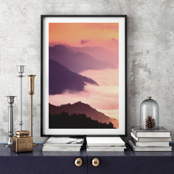 Poster A3 A3 A3 30x42cm Cloudy Mountains 7c4284