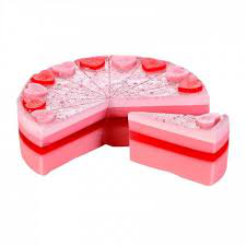 bomb cosmetics raspberry supreme soap cake slice