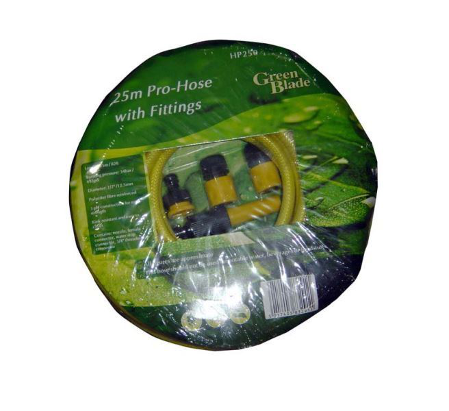 25 metre professional hose pipe reinforced garden with fittings