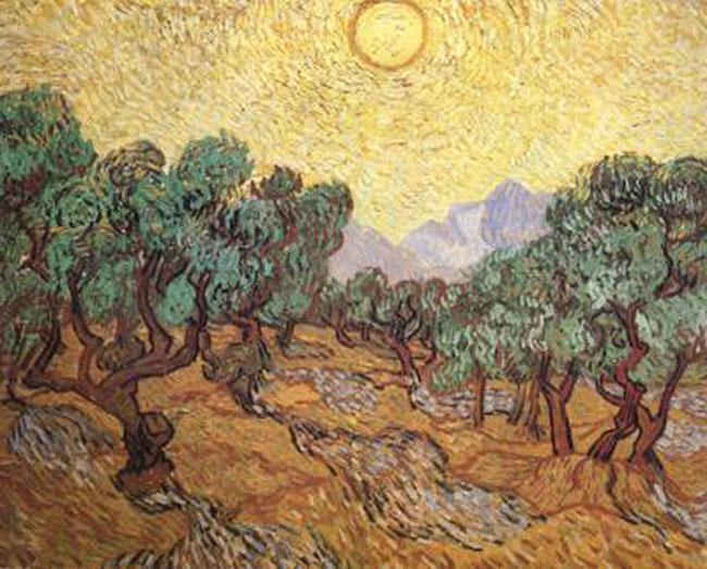 Olive Trees with Gul Sky and Sun,Vincent Van Gogh, 50x40cm
