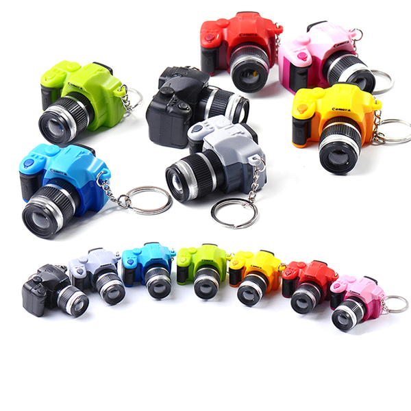 1 pcs simulation camera led keychain with sound flashlight key r