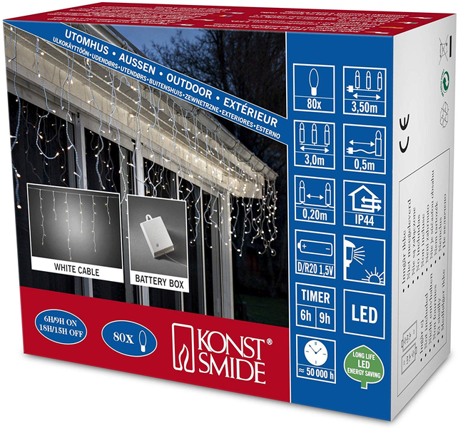 Konstsmide 3739-102 led icicle light curtain for outdoor use