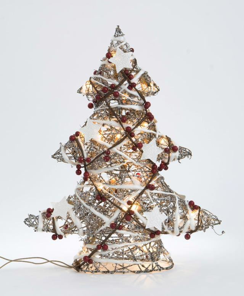 48cm Rattan Christmas Tree with plugin Lights Decoration Gift It