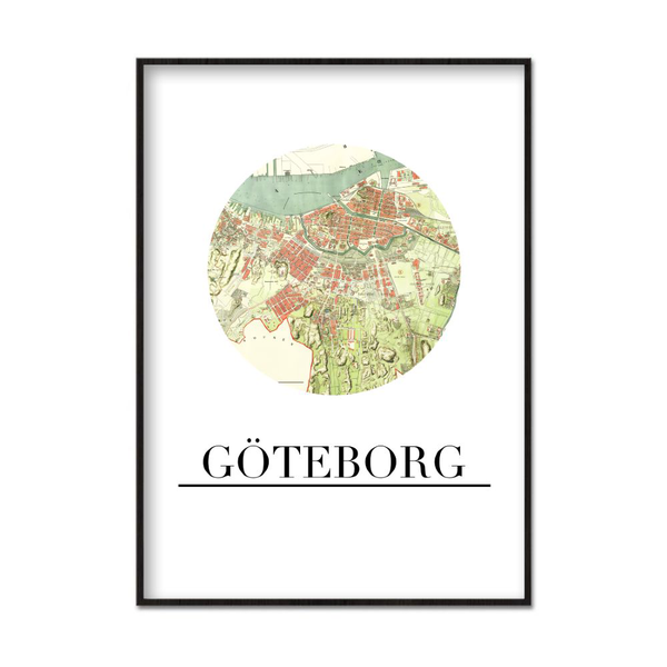Poster A4 21x30cm Göteborg City City City Map 763074