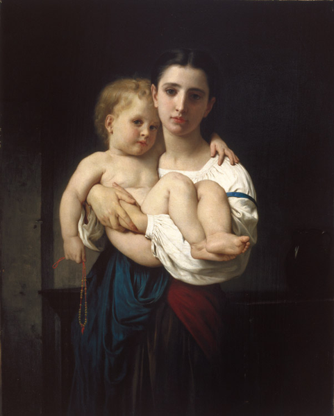 The The The Elder Sister,Adolphe William Bouguereau,55.5x45.5cm 3bd892