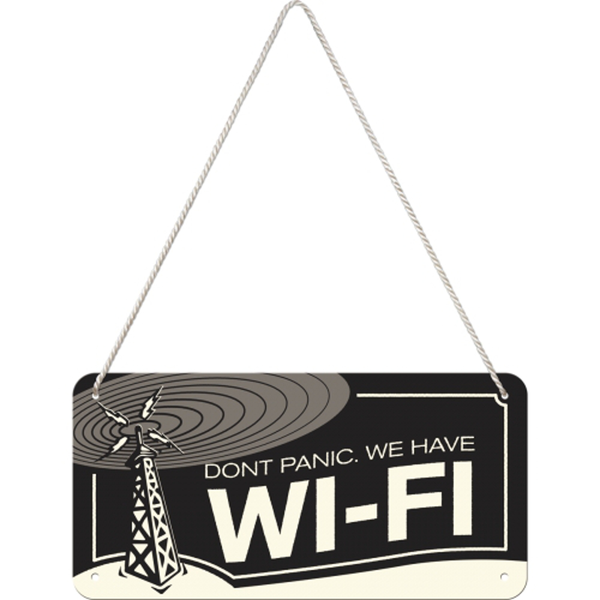 """Retro skylt med 3d relief 10×20 cm """"dont panic we have wi-fi"""""""