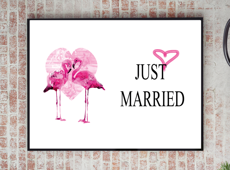 Poster - Just Just Just married flamingo heart 40x50cm f8f487