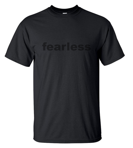 svart on svart T-shirt - fearless - HERR