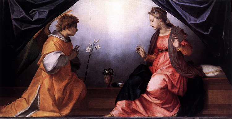 The Annunciation,Andrea del Sarto,80x40cm