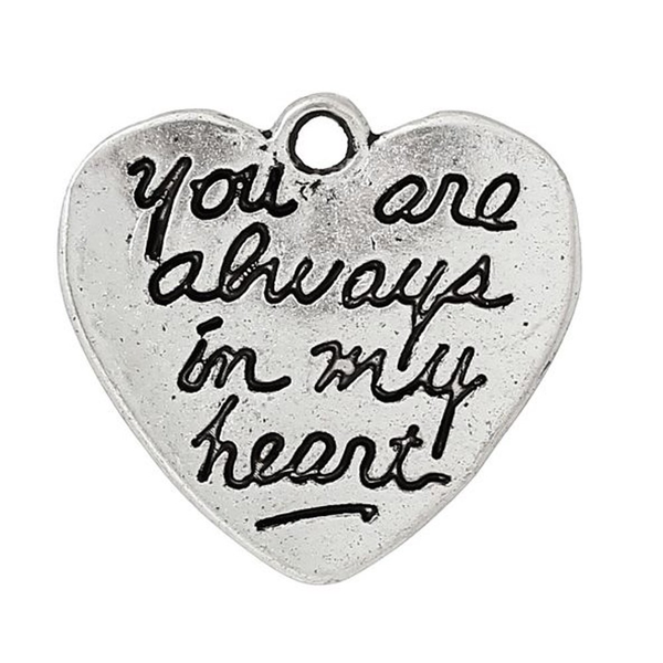 Hjärta med text you are always in my heart silver 5-pack