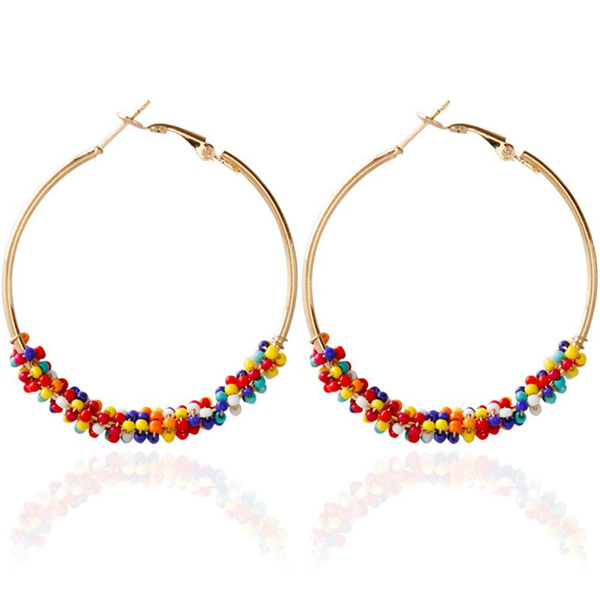 New earrings for women ethnic vintage gold color multicolor