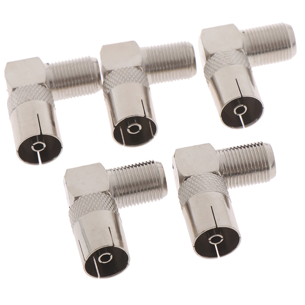 5pcs rf coaxial 90 right angled tv aerial connector f female to
