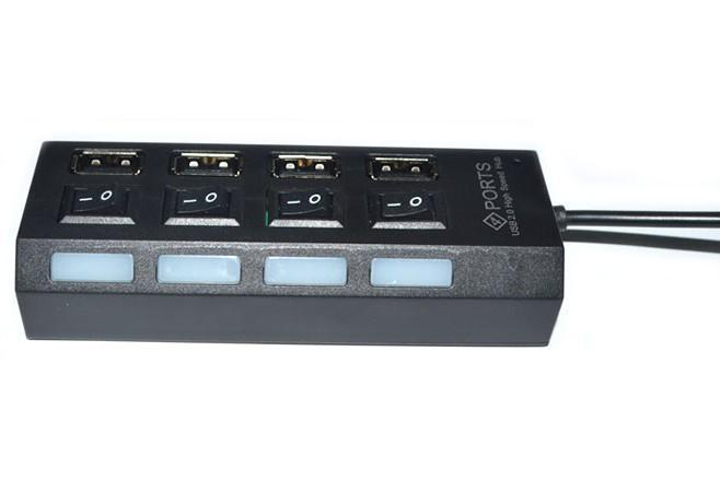 4 ports usb hubb 2.0 on/off switch med led lampa