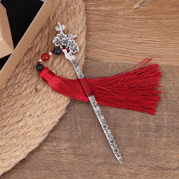 Chinese style vintage metal bookmark long tassel beads tradition
